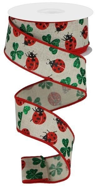 "1.5""X10yd Ladybug/Glitter Shamrock Natural/Red/Black/Emerald"