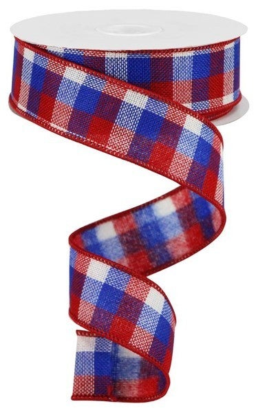 "1.5""X10yd Reverse Flannel Mini Check Red/White/Blue"