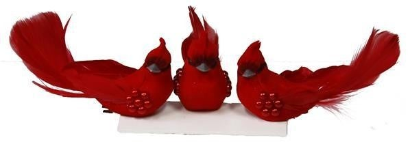 "3.75""L Velvet Cardinal W/Clip 1 dozen"