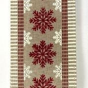 "Natural Linen/Cranberry Snowflake Cream Dash Edge 2.5""x10yd"