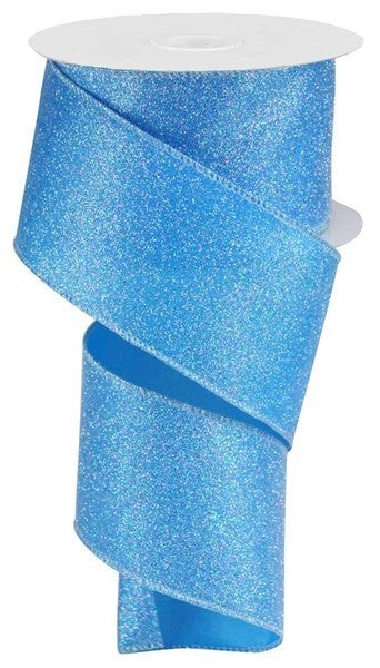 "2.5""X10yd Iridescent Glitter On Satin Blue/Iridescent"