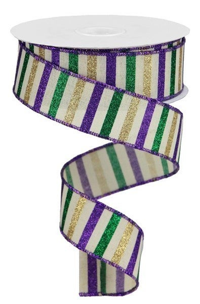 "1.5""X10yd Horizontal Stripe/Royal Color: Cream/Purple/Dk Grn/Gold"