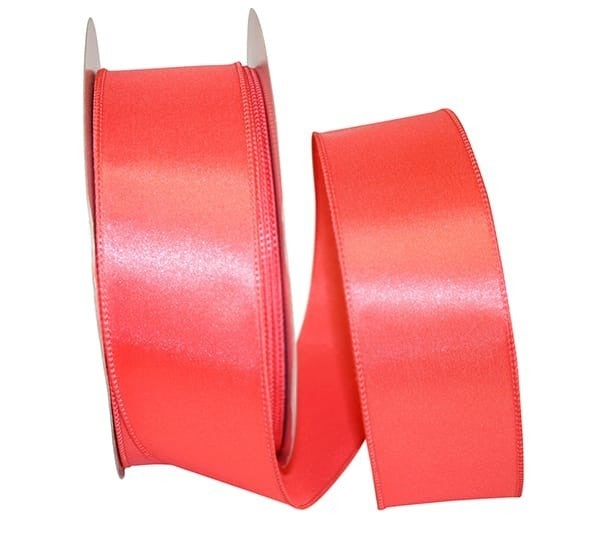 "VS 20-40 Satin Value Wired Edge, Coral 2.5"" x 50 Yds"