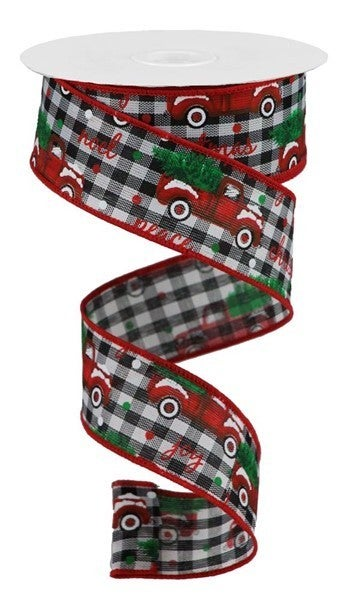 "1.5""X10yd Christmas Trucks/Check Color: Black/White/Red/Green"