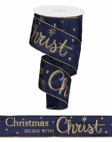 """2.5""""X10yd Christmas Begins With Christ Navy Blue/Gold"""
