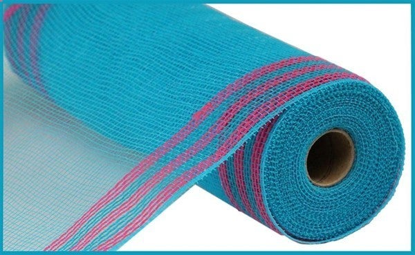 "10.5""X10YD FAUX JUTE/PP/BORDER STRIPE Color: Turquoise/Hot Pink"