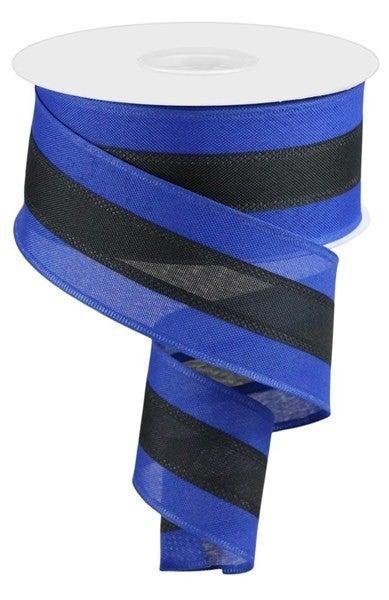 "2.5""X25yd 3-In-1 Value Faux Burlap Royal Blue/Black"