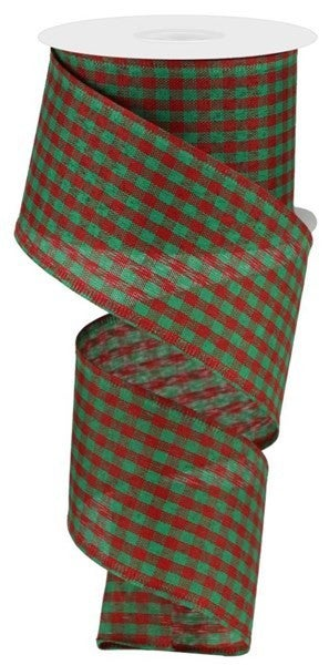 "2.5""X10yd Gingham Check Red/Green"