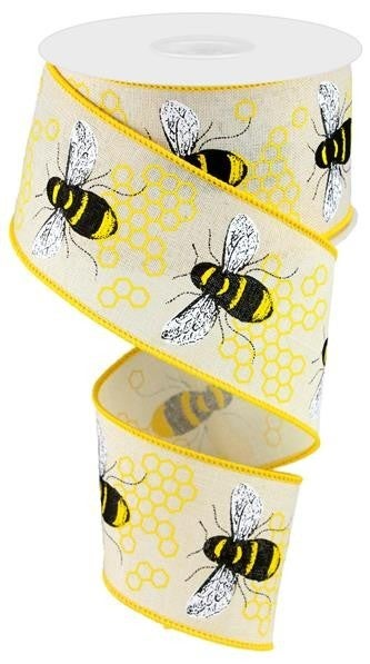 "2.5""X10YD HONEY BEE ON ROYAL CREAM/YELLOW/BLACK"