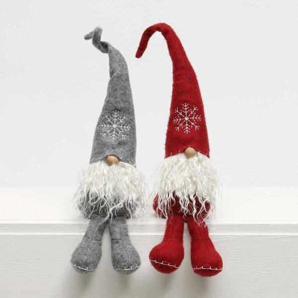 """SCHNITZEL GNOME WITH SNOWFLAKE HAT, WOOD NOSE, CURLY BEARD AND BIG BOOTS 2ASSORTED BURGUNDY RED/GREY GRAY SMALL 3.5""""X17"""""""