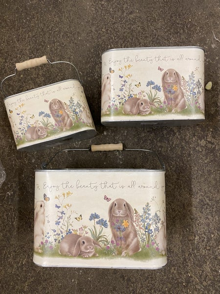 RABBITS/FLOWERS PLANTERS Set/3