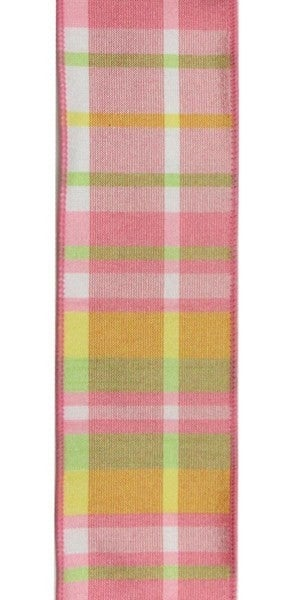 "2.5""X10yd Faux Dupioni Plaid Color: Sprng Grn/Lt Pnk/Yllw"