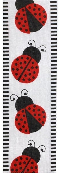 "2.5""X10yd Ladybug/Thin Stripe Black/White/Red"