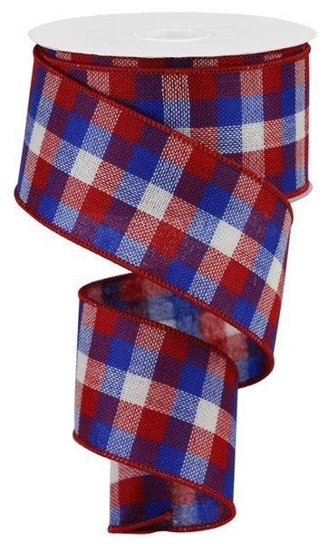"2.5""X10yd Reverse Flannel Mini Check Red/White/Blue"