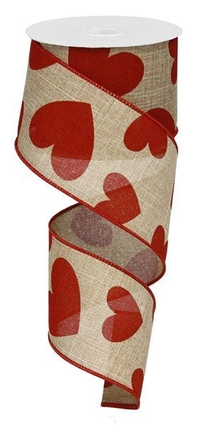"""2.5""""X10yd Large Hearts On Royal Beige/Red"""