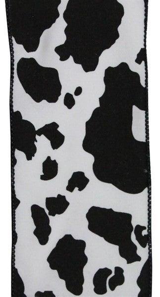 """4""""X10yd Cowhide Print. Black/White"""