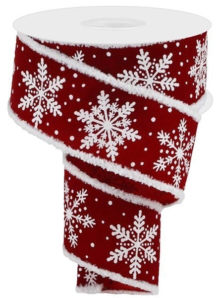 "2.65""X10YD SNOWFLAKE/GLITTER/VLVT/DRIFT Color: Cranberry/White"