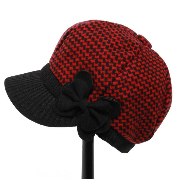 RED HOUNDSTOOTH SLOUCH HAT