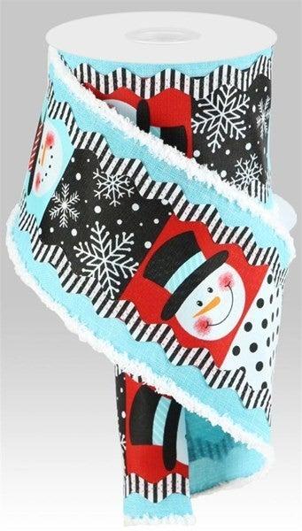 "4""X10yd 2-In-1 Snowman/Ricrac/Drift Color: Lt Blu//Blk/Wht"