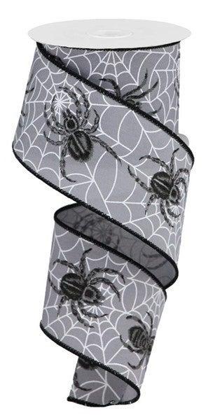"""2.5""""X10yd Spider Web/Spider On Pg Fabric Grey"""
