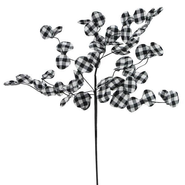 "22""L Check Fabric Flower Spray"