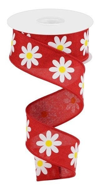 "1.5""X10yd Daisy On Royal Red/White"