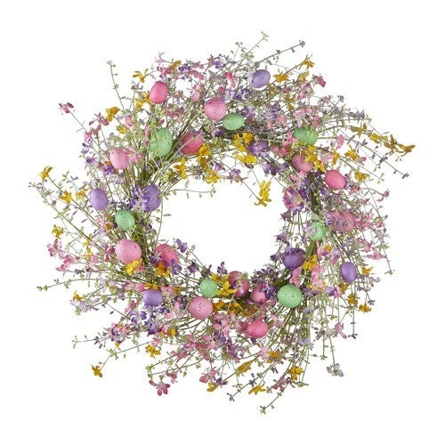 """26"""" Wildflower and Pastel Egg Wreath"""