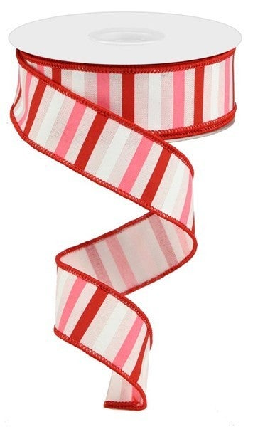 """1.5""""X10yd Horizontal Stripe On Royal Color: Lt Pink/Red/Pink/White"""