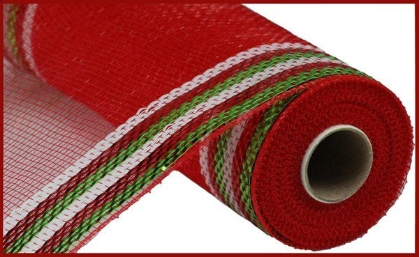 "10.25""X10yd Border Stripe Metallic Mesh REd/Lime/white"