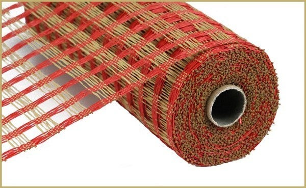 "21""X10YD POLY BURLAP CHECK MESH Color: Red/Buff"