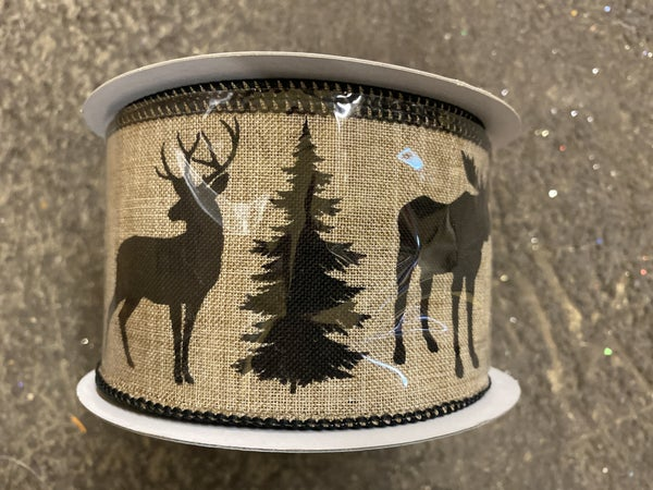"2.5""X10YD MOOSE/DEER/BEAR ON ROYAL Color: LIGHT BEIGE/BLACK"