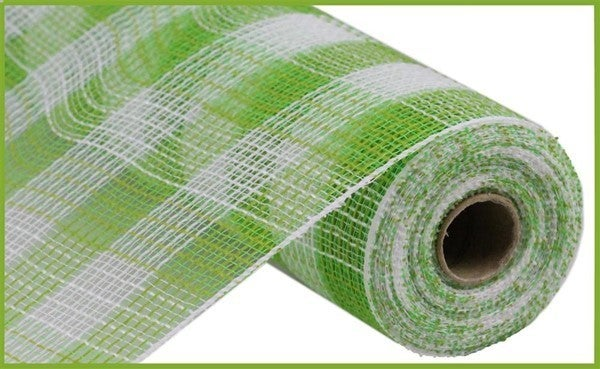 "10.5""X10yd Faux Jute/Pp Small Check Fresh Green/WHite"