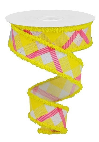"1.5""X10yd Printed Plaid W/Drift White/yellow/Hot Pink"