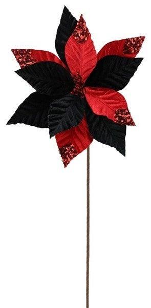 """22""""L Velvet/Sequin Poinsettia Stem Black/Red"""
