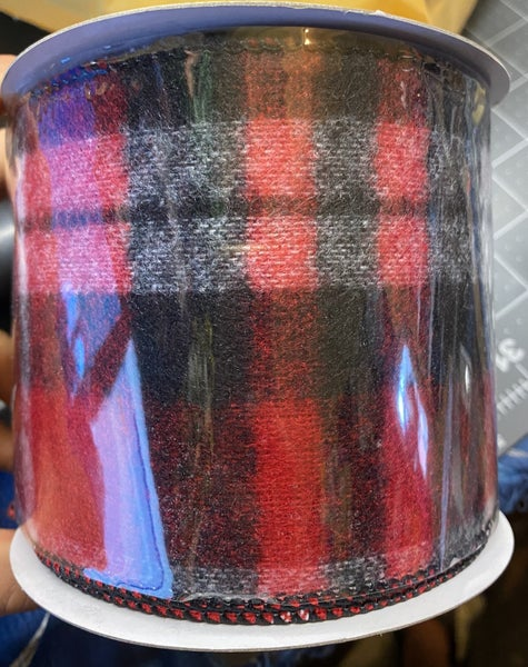 "FLANNEL PLAID - 4""X 10YD / BLACK AND RED"