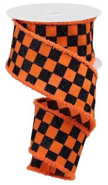 "2.5""X10yd Glitter Check/Drift Orange/Black"