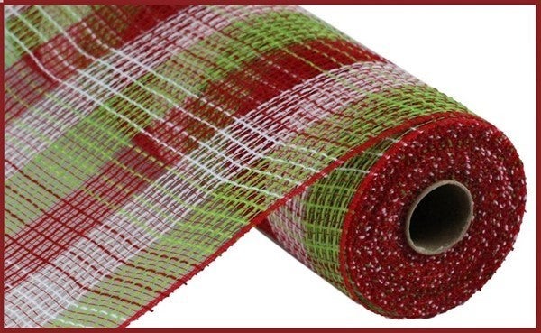 "10.5""X10yd Pp/Faux Jute Small Check Mesh Red/Lime/White"