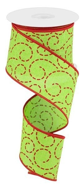 "2.5""X10yd Dashed Swirls Color: Lime Green/Red"