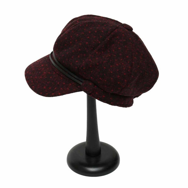 Burgundy Polka Dot Slouch Hat with 2 Buttons and Straps