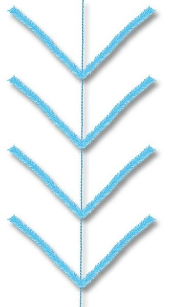 9' Pencil Work Garland X22 Ties Sky Blue