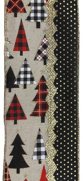 """4""""X10yd 3-In-1 Plaid Tree/Dots Color: Lt Nat/Red/Black/Gold"""
