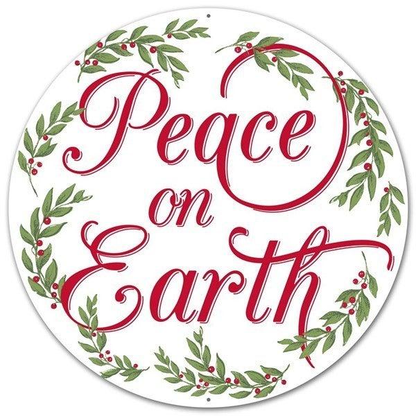 "12""Dia Metal Peace On Earth Sign"