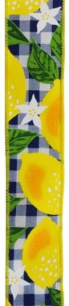 "1.5""X10yd Lemon W/Check Color: White/Yellow/Navy Blue"
