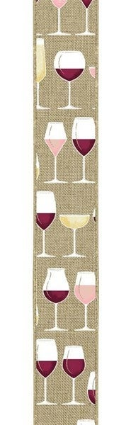 "1.5""X10yd Wine Glasses On Royal Burlap Color: Lt Bge/Crm/Wht/Gld/Bgdy"