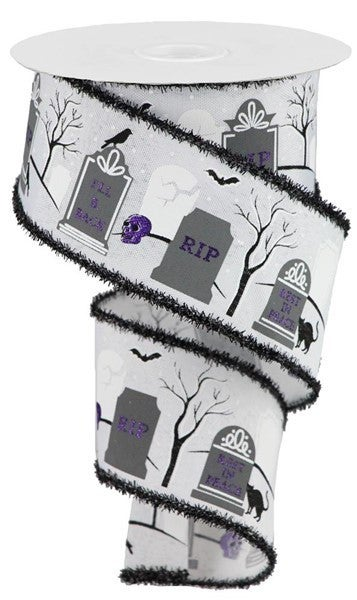 "2.5""X10yd Graveyard/Faux Ryl/Tinsel White/Grey/Black"