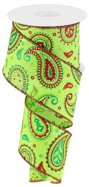 "2.5""X10yd Paisley On Royal Color: Lime/Red/Emerald"