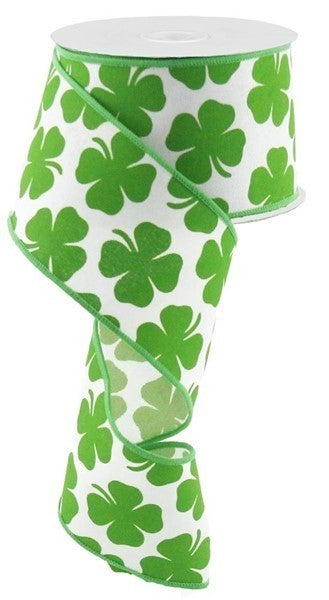"2.5""X10yd Shamrock On Royal White/ Kelly Green"