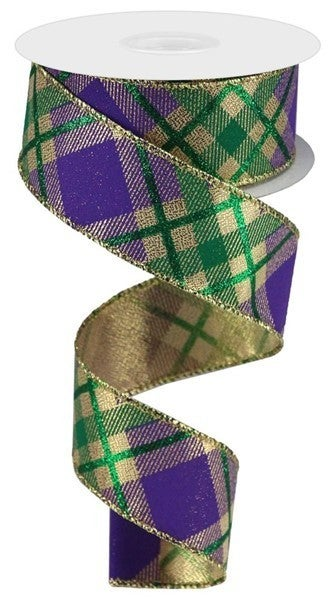 "1.5""X10yd Glitter Plaid On Metallic Mardi Gras"