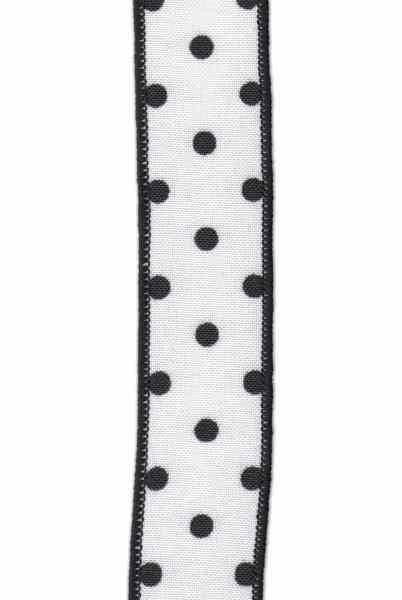 """1.5"""" x 10yds linen polka dot,black/white"""