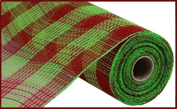 "10.5""X10yd Faux Jute/Pp Small Check Red/Fresh Green"